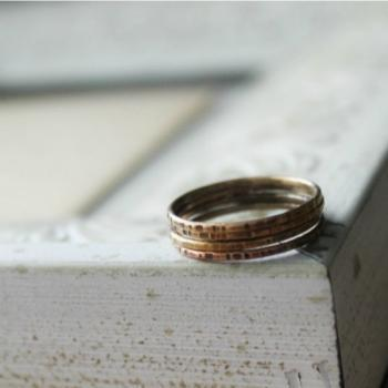 Antiqued Brass Stacking Ring Set - Rustic, set of 4 Textured